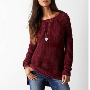 American Eagle Burgundy Jegging Knit Sweater | XS